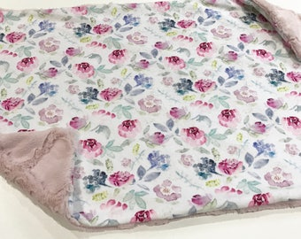 Pink and Purple Watercolour Floral Baby Blanket Lovey, Baby Girl Minky Lovey, Dusty Rose Flowers Baby Blanket, Ready to Ship, Baby Shower