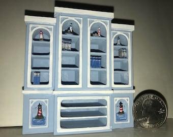 Nautical Lighthouse Bookshelf 1:24 Dollhouse Miniature Furniture Half Inch Scale Artisan Hand Painted
