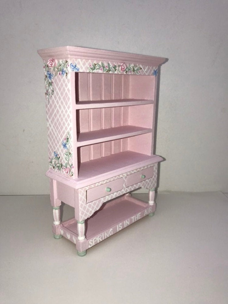Dollhouse Miniature Kitchen Hutch 1 12 Victorian Pink White Cottage Chic Roses Artisan Hand Painted Trellis Collection Cabinet