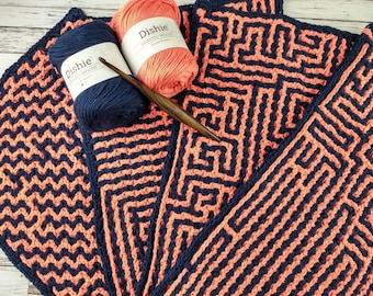 "A-Maze-Ing Interlocking Crochet Placemats Crochet Pattern - 4 Maze Placemat Crochet Pattern Designs 19x11.5"""