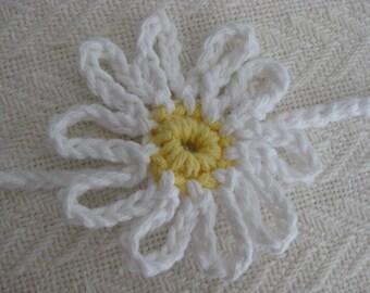 Crochet Daisy Headband White and Yellow
