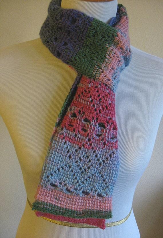 Heart Scarf Crochet Pattern Tunisian Crochet Etsy