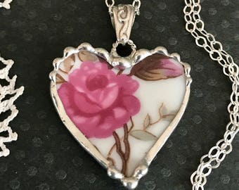 Necklace, Broken China Jewelry, Broken China Necklace, Heart Pendant, Pink Rose China, Pink and Brown, Sterling Silver, Soldered Jewelry