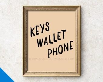 Keys Wallet Phone, typography print, hallway decor, hallway art, typographic print, typography art, entrance sign, black, pink, blush.