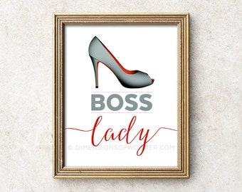 Boss Lady print, office decor, office wall art, modern typography art, typographic print, work art, work prints, boss gift, gift for wife.