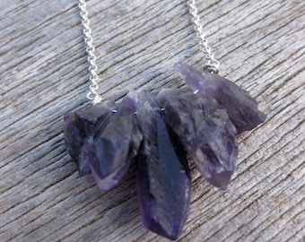 natural crystal purple AMETHYST stone and sterling necklace