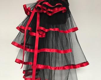 Black  Red Burlesque Steampunk Bustle Belt size US 2 4 6 8  10 UK 6 8 10 12 14