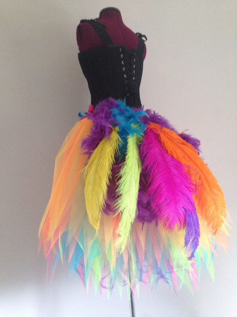 1c353c4df9 Rainbow New for 2019 Peacock Burlesque Tutu skirt size 4 10 | Etsy