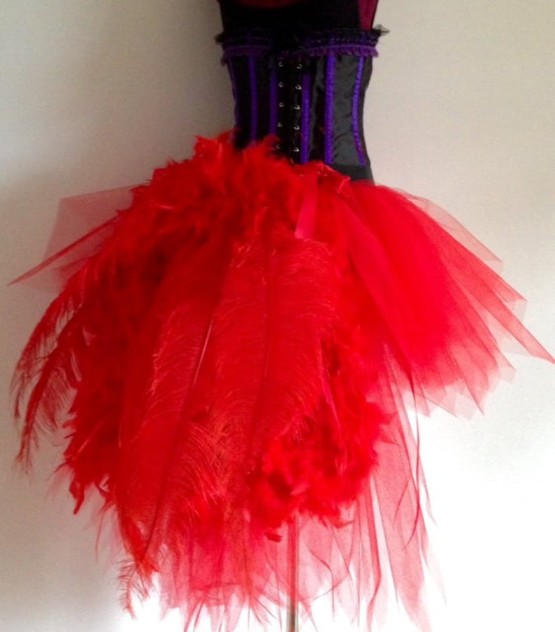 27602de265 Burlesque Red Swan Tutu Skirt with Ostrich Spadone Feathers | Etsy