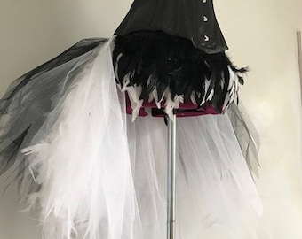 Black and White Feather Bustle inspired by Plumette all sizes available to order.