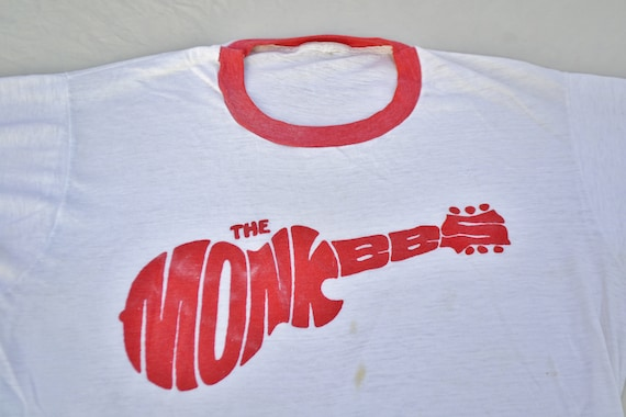 70's The Monkeys Ringer Shirt T-Shirt Size L Rock