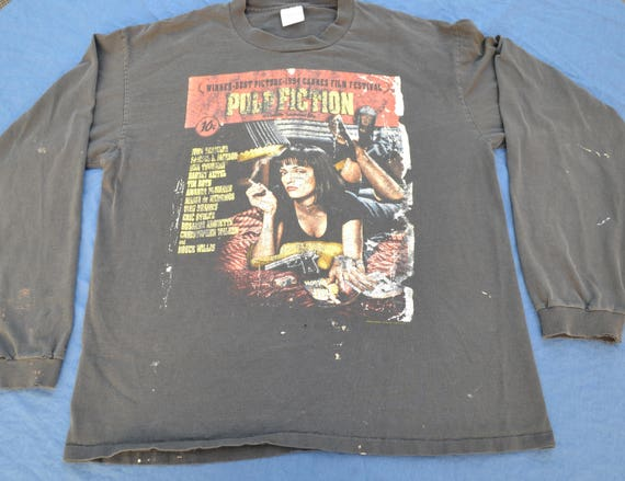 Rare 1994 Pulp Fiction Longsleeve Shirt Size XL T Shirt Movie Cult 90's Vintage Quentin Tarantino Uma Thurman Comic John Travolta