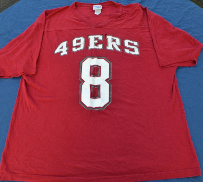 size 40 b53ef e852a Vintage San Francisco 49ers Steve Young Jersey 100% Cotton T-Shirt Size XL  Chalk Line NFL Football #8