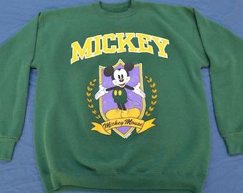90's Mickey Mouse Vintage Green Sweat Shirt T-Shirt Size XL Disneyland Tee Shirt Loony Tunes