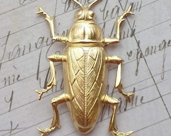Raw Brass Beetle Scarab Stamping Metal Egypt Egyptian Antiqued Beetle Bug LARGE Big size beautiful detail