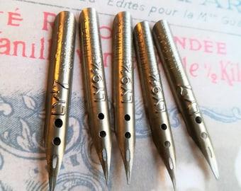VINTAGE DIP PEN Fountain pen pen nibs Antique Gold 10 pieces!