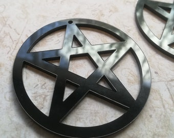 Black Pentagram Pendant charms Lasercut Acrylic Witch gothic goth punk 2 pieces with 1 hole at the top