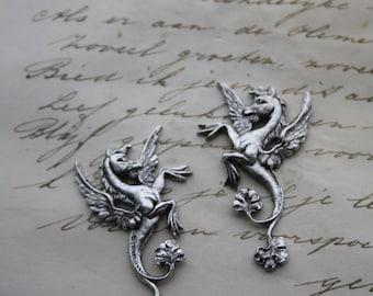 1 Pegasus Pair - one Left and one Right - Whimsical Fantasy Mythological Winged Horse Gothic Goth