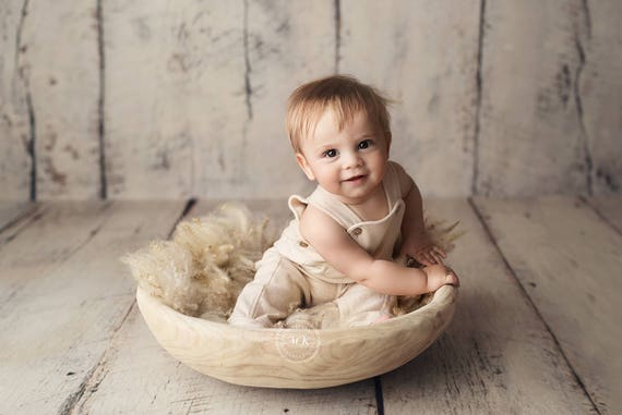Large natural wooden bowl prop newborn photo prop basket