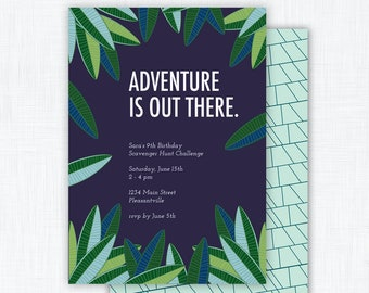 """Adventure Party Invitation Printable """"Adventure is Out There"""""""