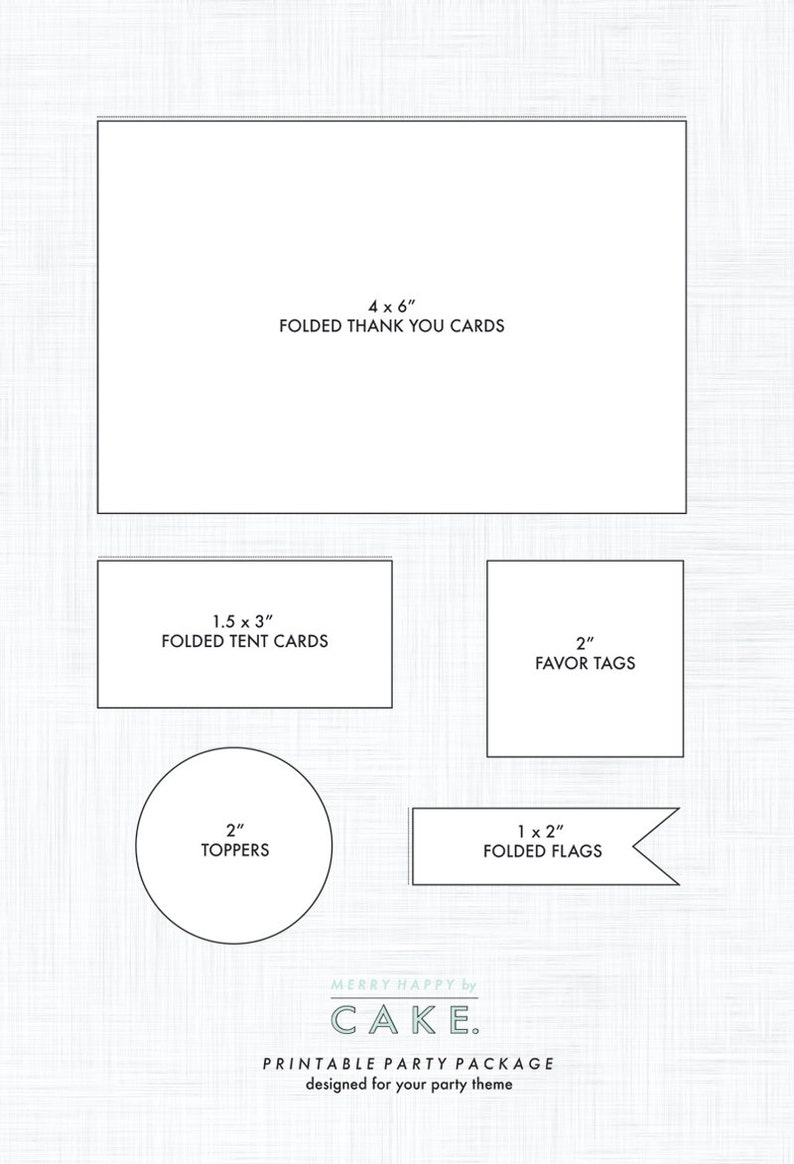 Printable Party Package  Add On includes: Thank You Notes image 0