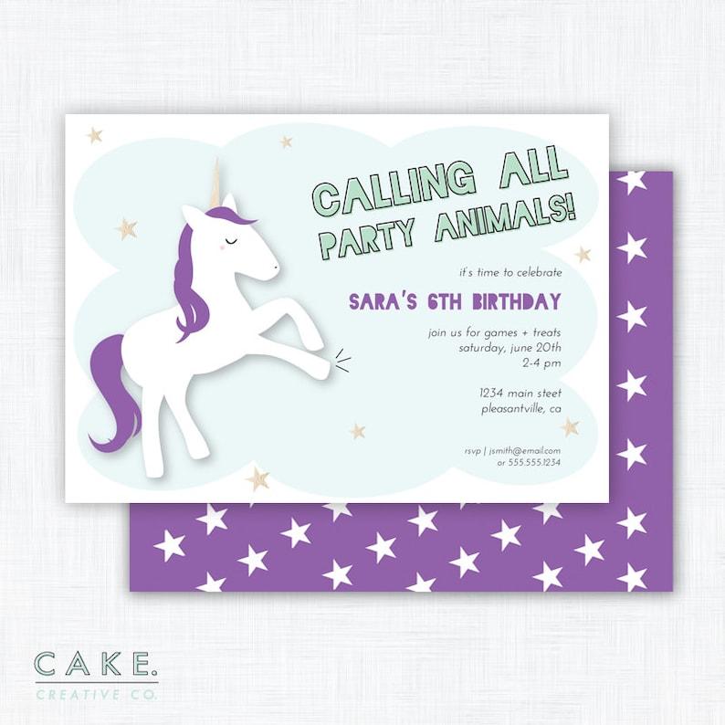 Unicorn Party Invitation Printable image 0
