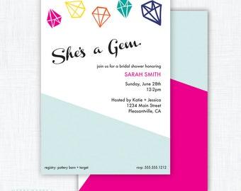 "Jewel Party Invitation Printable ""She's a Gem"""