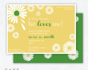 """Daisy Shower Party Invitation Printable """"He Loves Me"""""""