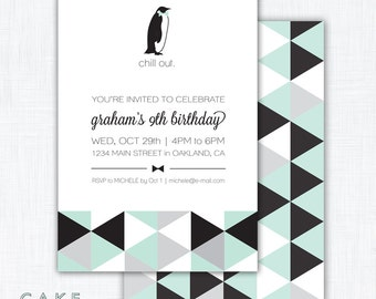 """Geometric Penguin Party Invitation Printable """"Chill Out"""""""