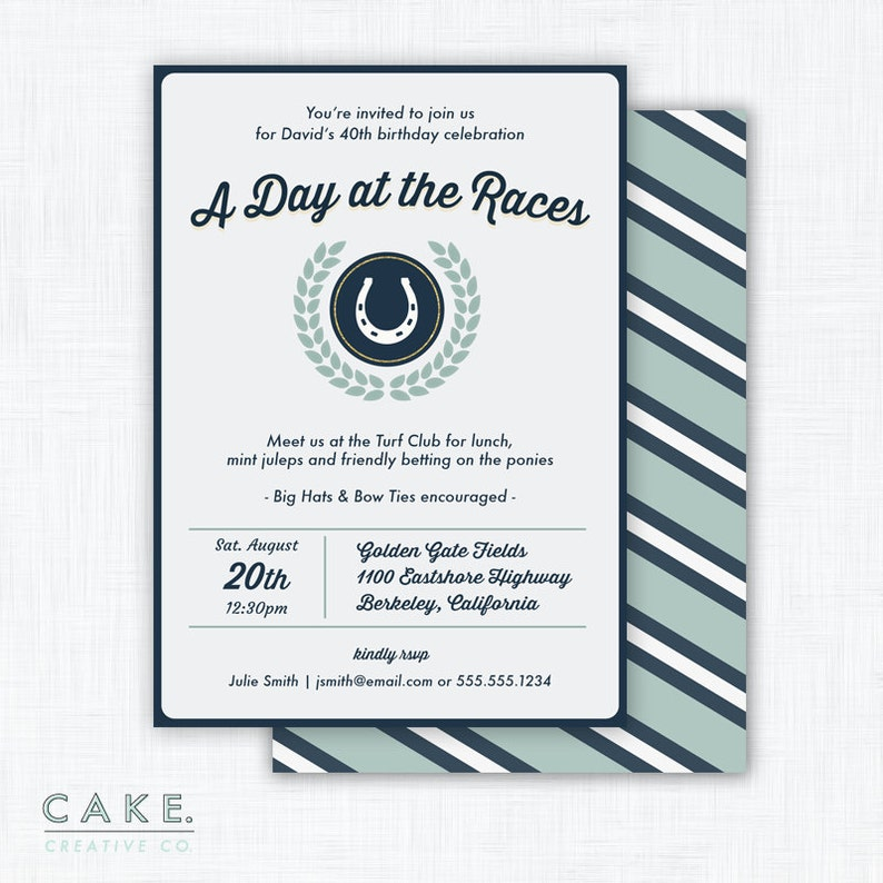 Horse Race Party Invitation Printable Derby Party image 0