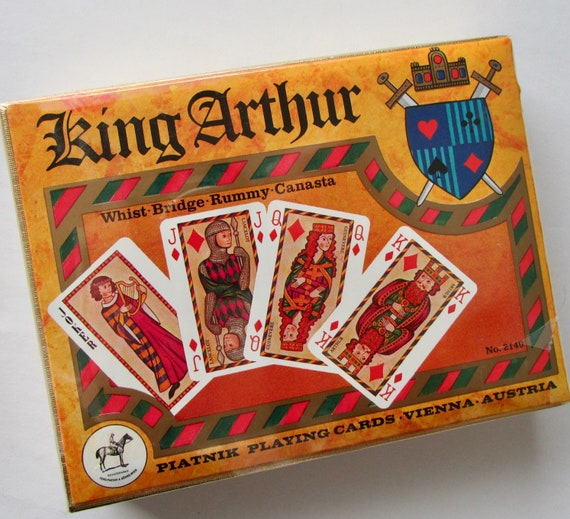 King Arthur Playing Cards by Piatnik #2140 Double Decks in Cardboard Box  Factory Sealed 1975