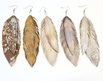 Leather Feather Earrings, Feather Earrings, Feathers, Bohemian Jewelry, Hippie Jewelry, Bridal Earrings, Bride, Feathers, Boho Earrings