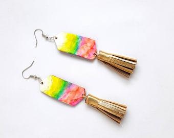 Tropical Earrings, Tassel Earrings, Tie Dye, Trend Earrings, Beachy Jewelry, Fringe Earrings, Bohemian, Colorful Earrings, Geometric Jewelry