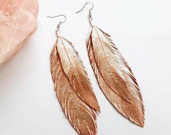 Feather Earrings - Metallic Feather Earrings - Leather Feather - Bohemian Jewelry - Party Jewelry - Jewelry - Feathers - Rose Gold