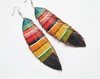 Feather Earrings - Mexican Blanket - Colorful Earrings - Festival Earrings - Bohemian Jewelry - Gypsysoul - Serape Jewelry - Rainbow Earring