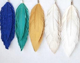 Bohemian Earrings, Double Feather Earrings, Boho, hippie, Boho Bride, Bridal Earrings, 70s, Large Earrings, Festival, Wedding, Pearl, Gold