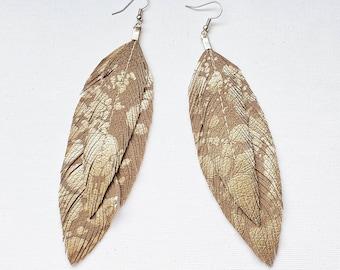 Double Feather Earrings, Feather Earrings, Feathers, Bohemian Jewelry, Hippie Jewelry, Bridal Earrings, Bride, Feathers, Boho Earrings, Gift