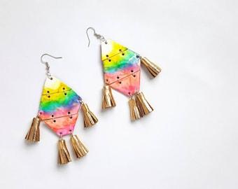 Geometric Earrings, Fringe Earrings, Tie Dye, Trendy Earrings, Beachy Jewelry, Tropical Earrings, Boho, Colorful Earrings, Bohemian Earrings