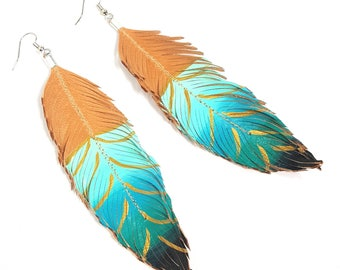 Feather Earrings, Leather Feather, Hand Painted Earrings, Festival Earrings, Western, Ombre Earrings, Bohemian, Large Earrings, Boho Style