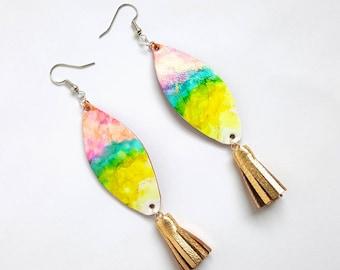 Surf Jewelry, Fringe Jewelry, Beachy Jewelry, Rainbow Earrings, Hippie Jewelry, Surfboard, Earrings, Tie Dye Jewelry, Coastal Jewelry, Boho