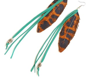 Leopard Print Earrings Feather Earrings, Leather Feather Earrings, Boho Earrings, Gypsy Earrings, Hippie Jewelry, Cheetah Earrings, Fringe