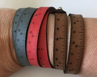 Wrist Ruler Leather Red, Grey, Black or Brown