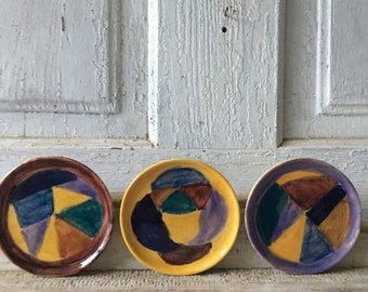 et of three vintage ceramic glazed miniature plates wall hanging coaters colorful quirky hand made for your eclectic bohemian home