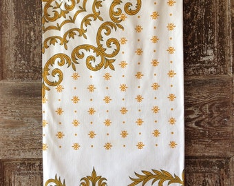 Vintage Table Cloth Cotton white with Golden Yellow Sixties