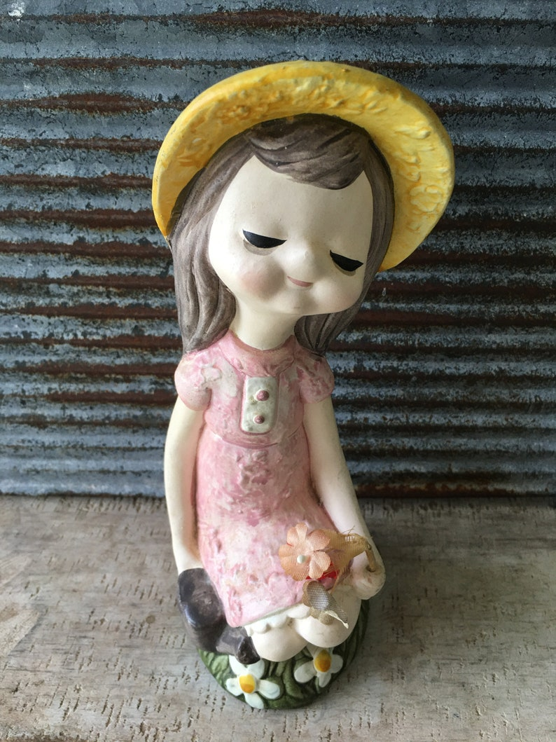 Vintage sassy little flower girl Norleans Japan home and living vintage home decor statue ceramic girl figurine collectible knick knack
