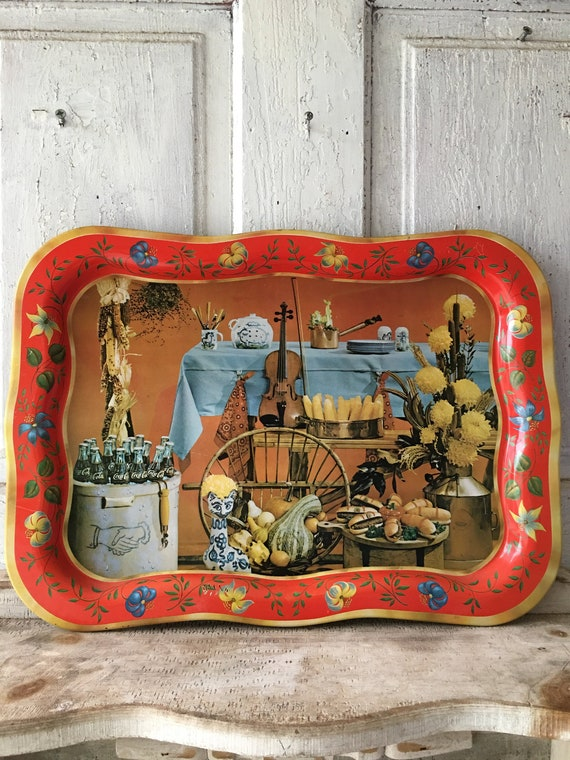 Vintage Serving Tray Americana Coca Cola design kitchen dining and serving  quirky vintage home decor retro kitchen decor barware