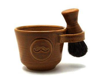 Mustache Shaving Set with a Mustache in Brown with a Black Badger Hair Brush and a Natural Soap Ready to Ship Fathers Day Gift