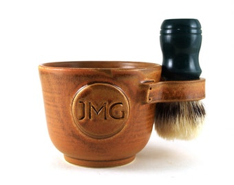 Personalized Shaving Mug with Initials Husband Pottery Anniversary Fathers Day Gift Brush Not Included Allow 4 to 6 Weeks
