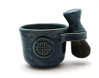Celtic Knot Shaving Kit in Blue with a Black Badger Hair Brush and a Natural Soap Fathers Day Gift Ships in 6-8 Weeks Made to Order