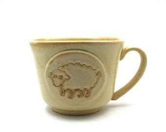 Sheep Coffee Mug in Cream Handmade Mothers Day Gift Ready to Ship